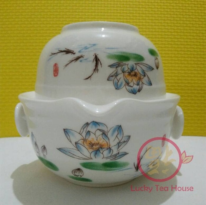 harga Keramik tea set chinese kungfu travel teapot teacup teratai biru Tokopedia.com