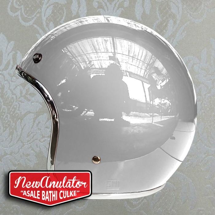 harga Helm bogo glosy putih custom 500 retro pilot lis list chrome krum krom Tokopedia.com