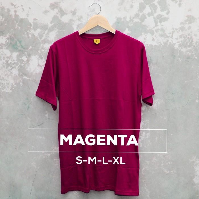 harga Kaos polos pendek solid pria wanita cewe cowo magenta Tokopedia.com