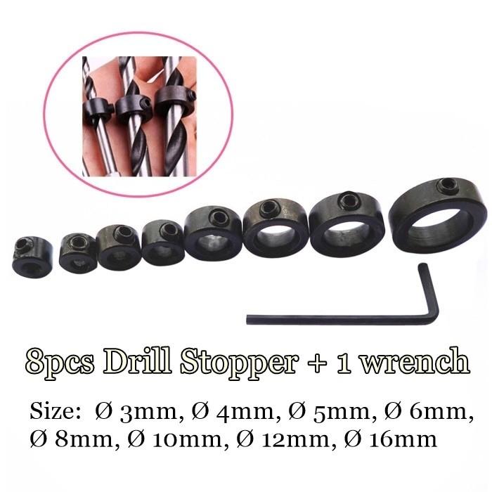 harga 8pcs drill stopper set kunci ring pembatas kedalaman mata bor terukur Tokopedia.com