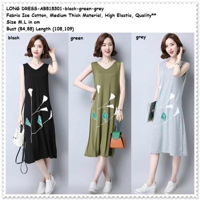 harga Long dress midi santai casual baju wanita korea import tank top hitam .