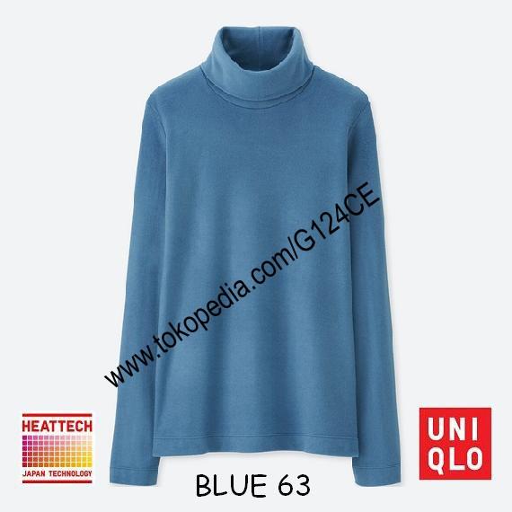 harga Kaos Uniqlo Heattech Fleece Turtle Neck Panjang 400176 Biru Blue 63 Tokopedia.com