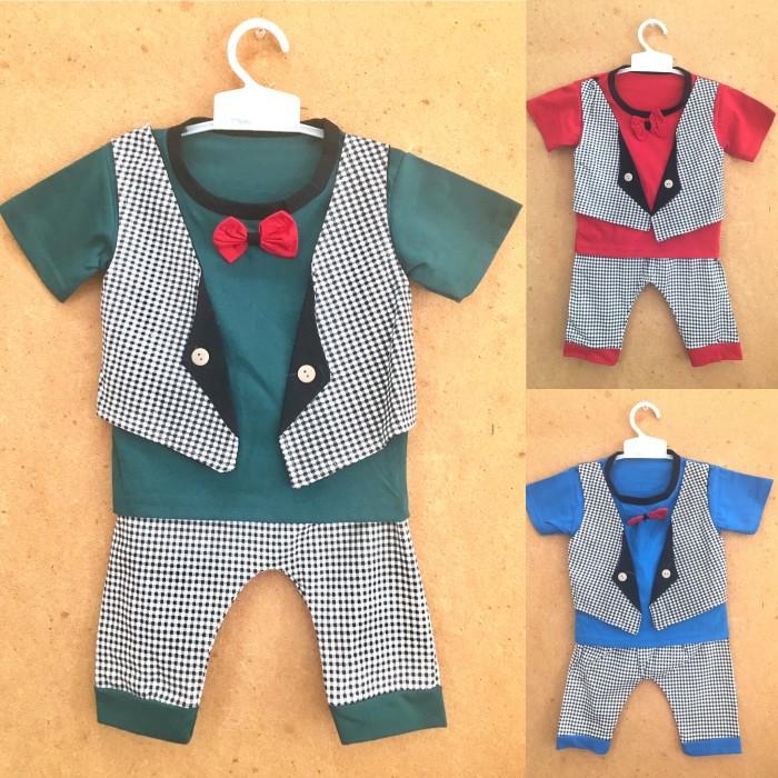 Baju rompi kaos setelan kemeja bayi anak cowo laki lucu murah dasi B10