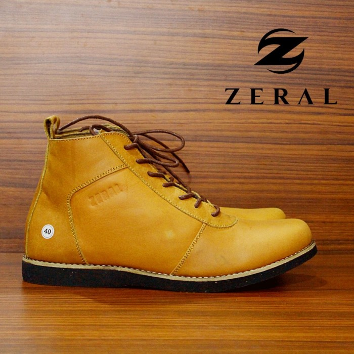 Sepatu brodo zeral kulit boots pria casual like bradley anubis tan