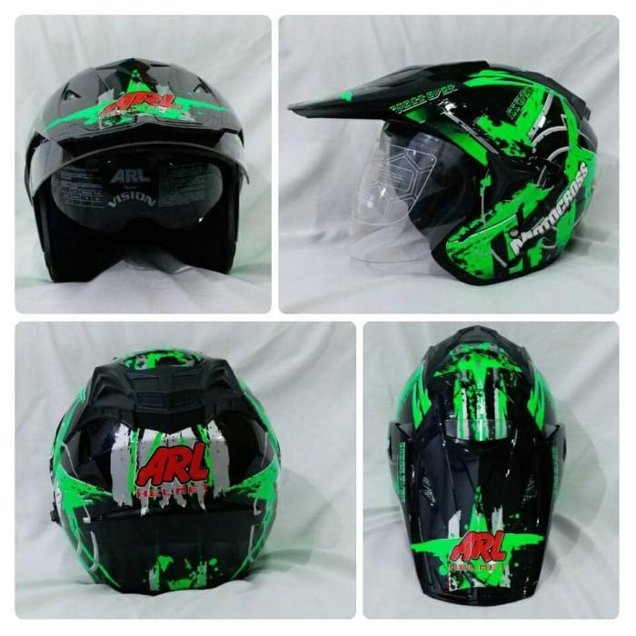 harga Helm semi cross half face double visor crossover motocross hitam. Tokopedia.com