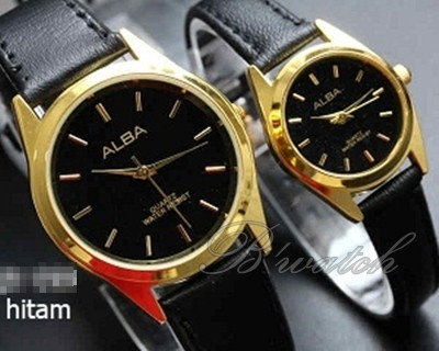 B WATCH JAM TANGAN COUPLE ALBA HITAM