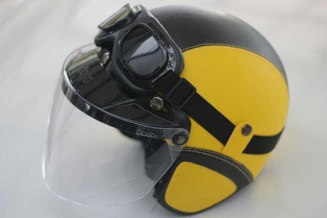 Helm Bogo - Helm Kulit Kaca Bogo Ori Plus Goggle - Kuning Hitam 2