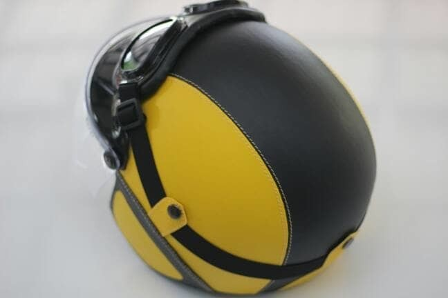 Helm Bogo - Helm Kulit Kaca Bogo Ori Plus Goggle - Kuning Hitam 1