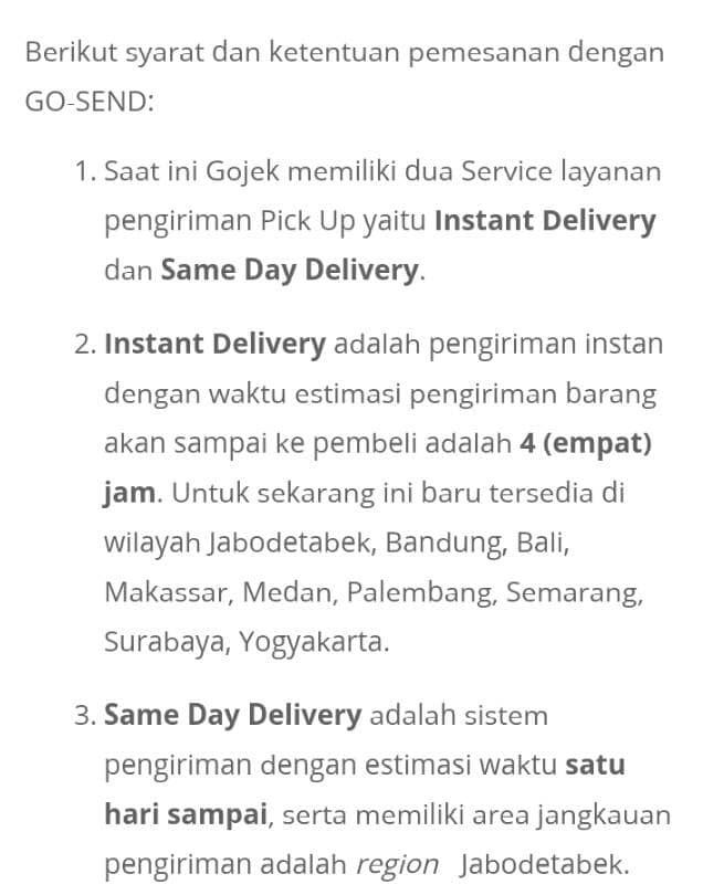 jual info peraturan gosend by gojek same day service gummy store