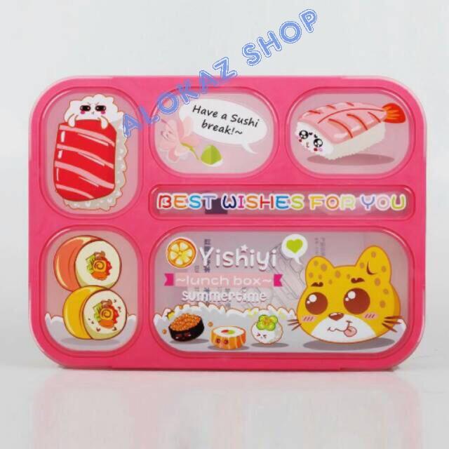 Lunch box yooyee 6sekat bpa free / kotak makan 6 sekat - az024