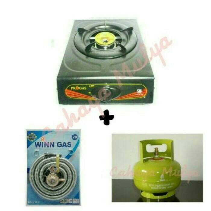 harga Kompor progas 1 tungku + selang gas winn + tabung gas elpiji 3 kg Tokopedia.com