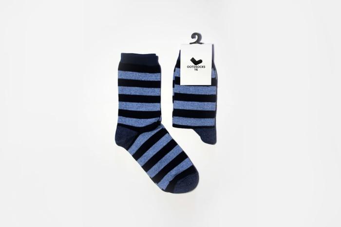 Strips Socks / Kaos Kaki Garis/ Light Blue-Black
