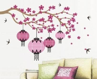 jual wall sticker lampion tree - wall sticker denpasar | tokopedia