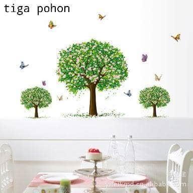 jual wall sticker tiga pohon - wall sticker denpasar | tokopedia