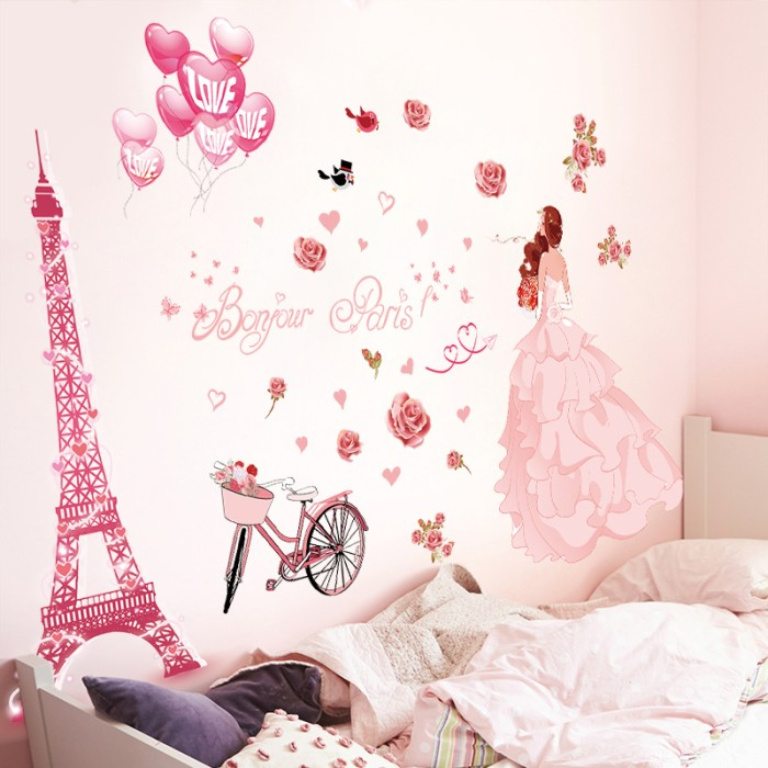 jual xl8265 wedding paris bride murah cantik bagus wallsticker wall