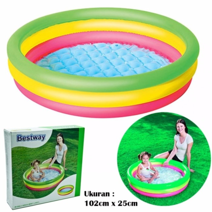 Bestway Inflatable Train Play Center Ball Pool Mainan Pelampung Source · harga Kolam Renang Bestway Pelangi