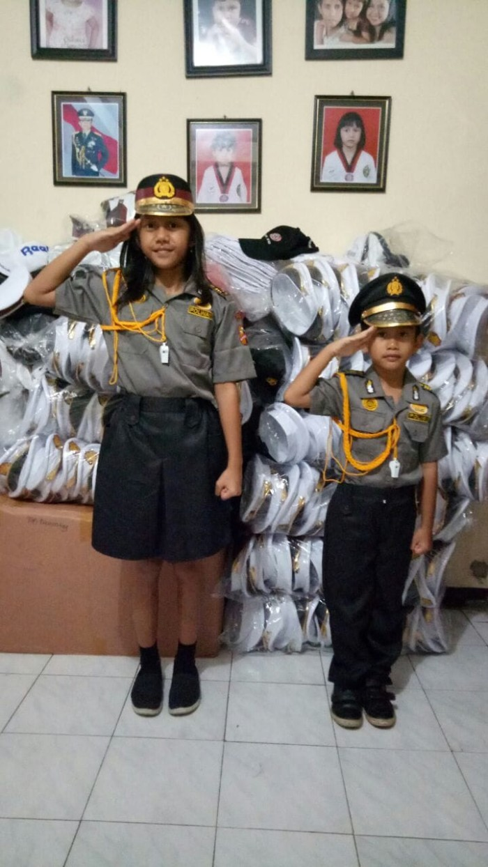 Jual Baju Karnaval Profesi Polisi Anak Polwan Size 5 Setelan 6