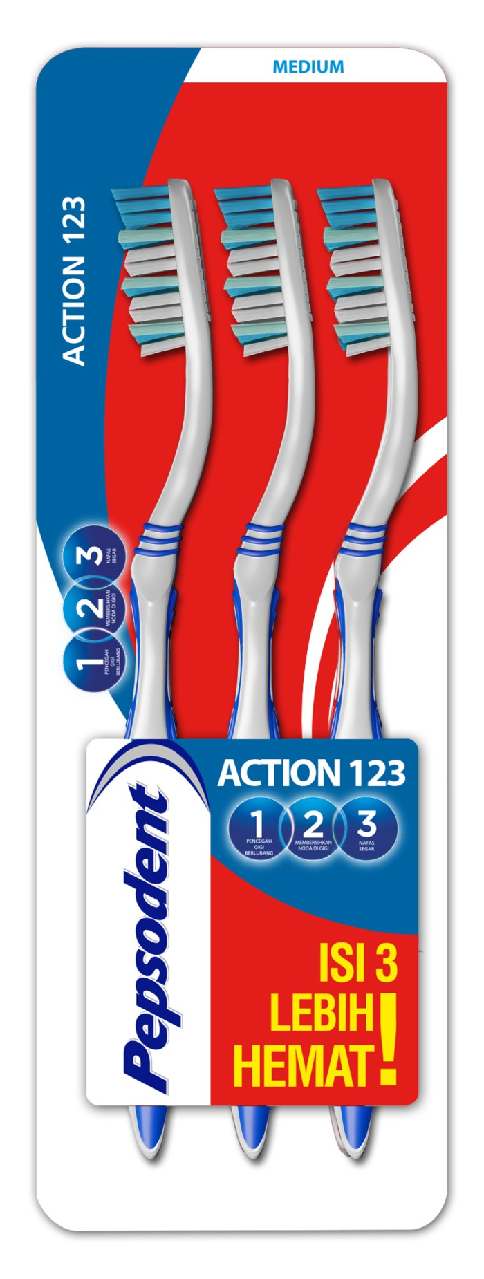 Jual PEPSODENT ACTION 123 SIKAT GIGI MEDIUM MULTIPACK ISI 3 ... a096fcc546