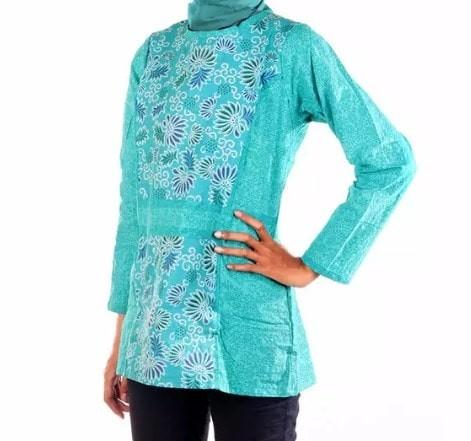 harga Baju atasan wanita / blouse / blus motif batik bunga daun tosca Tokopedia.com