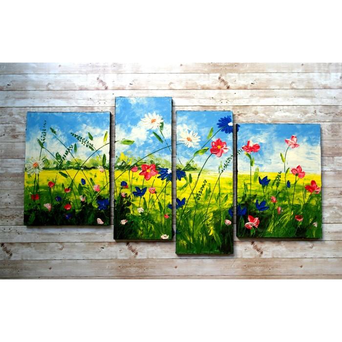 Jual Lukisan Dinding Pemandangan Padang Rumput Bunga Home Decor