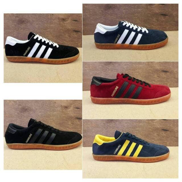 Jual Sepatu Adidas Hamburg Putih Navy Merah Futsal Sneakers Import