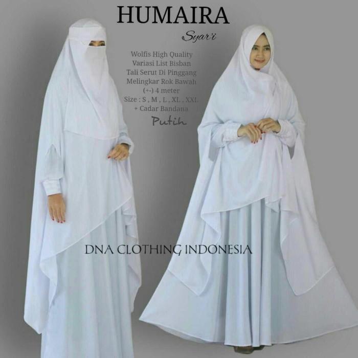 Jual Humaera Syari Set Gamis Cadar Bandana Niqab Niqob Putih Hitam