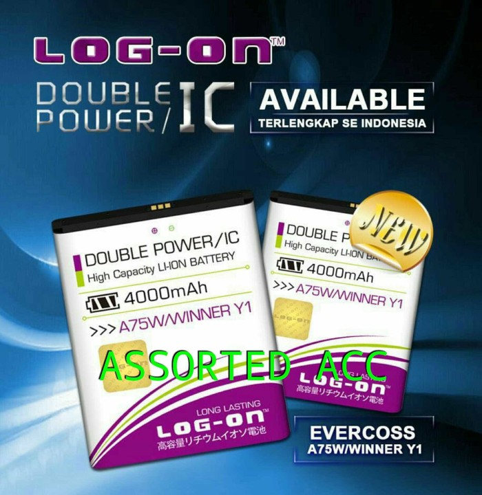 harga Baterai/battery log on double power evercoss a75w winner y1 Tokopedia.com