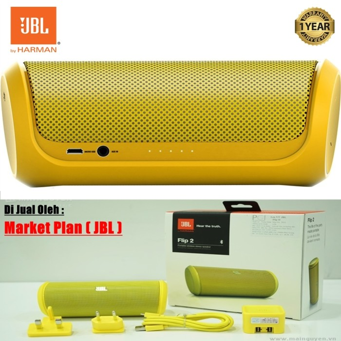 harga Jbl flip 2 portable speaker wireles bluetooth - kuning - original 100% Tokopedia.com