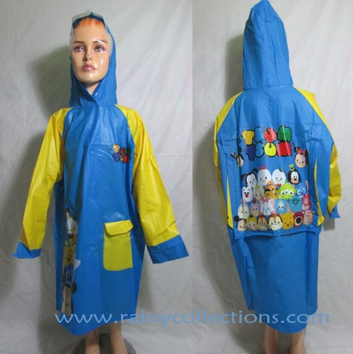Jas hujan anak karakter tsum tsum (mantel terusan)