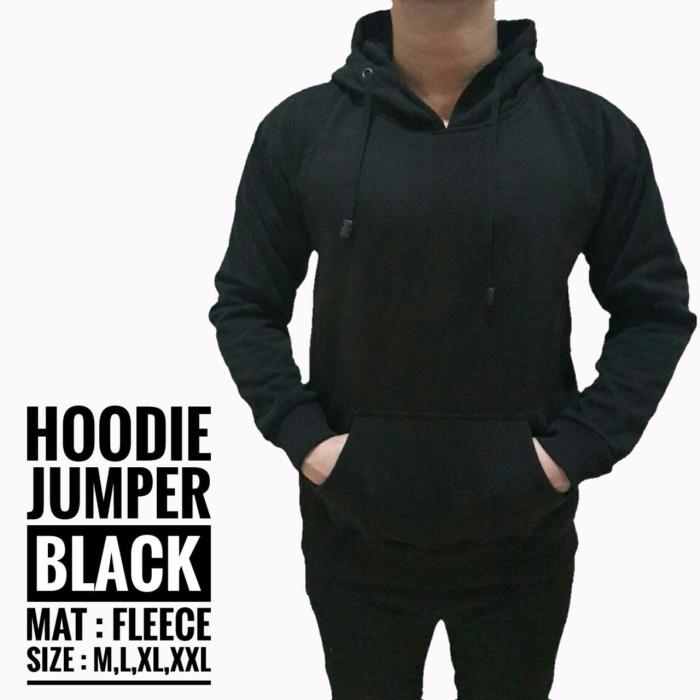 harga Jaket polos pria cowok hoodie jumper sweater hitam pekat keren gaul Tokopedia.com