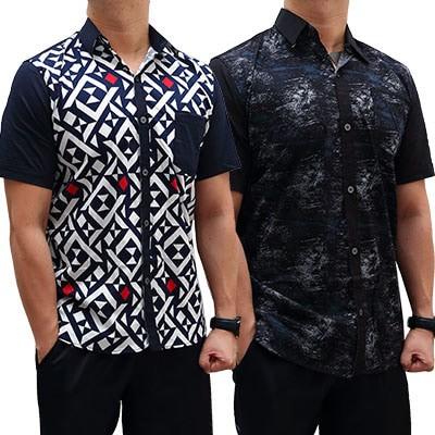 harga Kemeja Pria Lengan Pendek Slim Fit  Baju Cowok Motif Casual Shirt Tokopedia.com