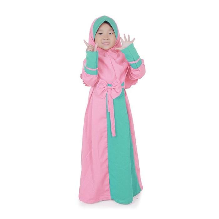 Foto Produk Gamis Anak Perempuan Balotelli Pita Murah Cantik - Peach ABS01 - XS dari Grone
