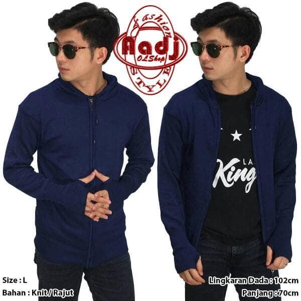 harga Knit hoodie fingerless jaket hoodie hoodie polos dongker murah Tokopedia.com