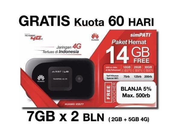 harga Mifi huawei 4g lte e5577 unlocked garansi resmi free tsel 14gb 60hari Tokopedia.com