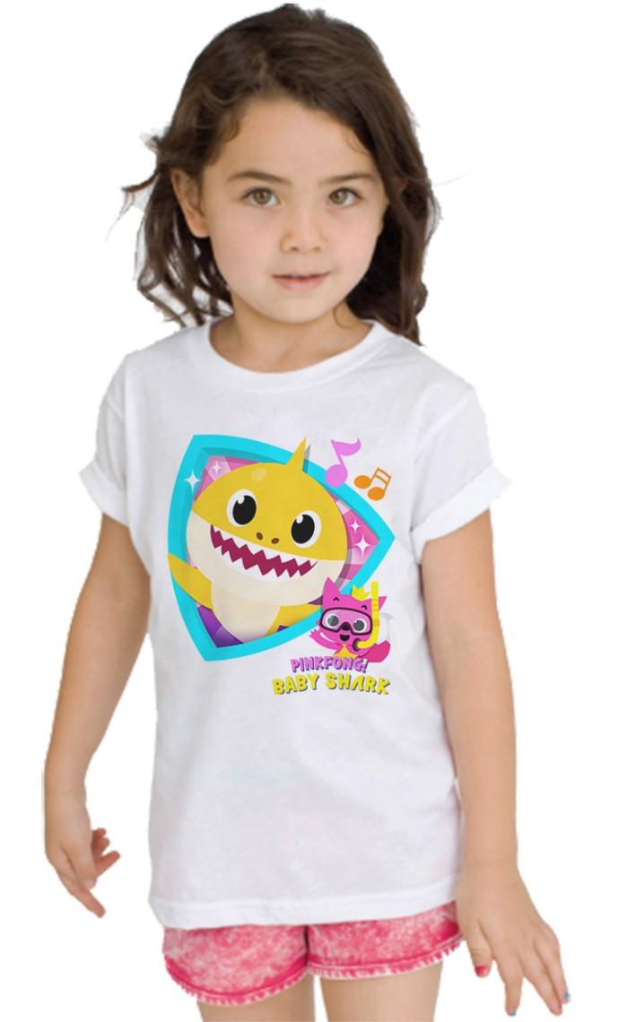 Anak Perempuan Fashion Produk Tempat Jual Beli Kaos Paw Patrol Family 056 Putih Baby Shark Tshirt Kids Ajs437