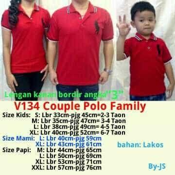 harga Couple pasangan baju kaos polo family ayah ibu anak mom and kids merah Tokopedia.com