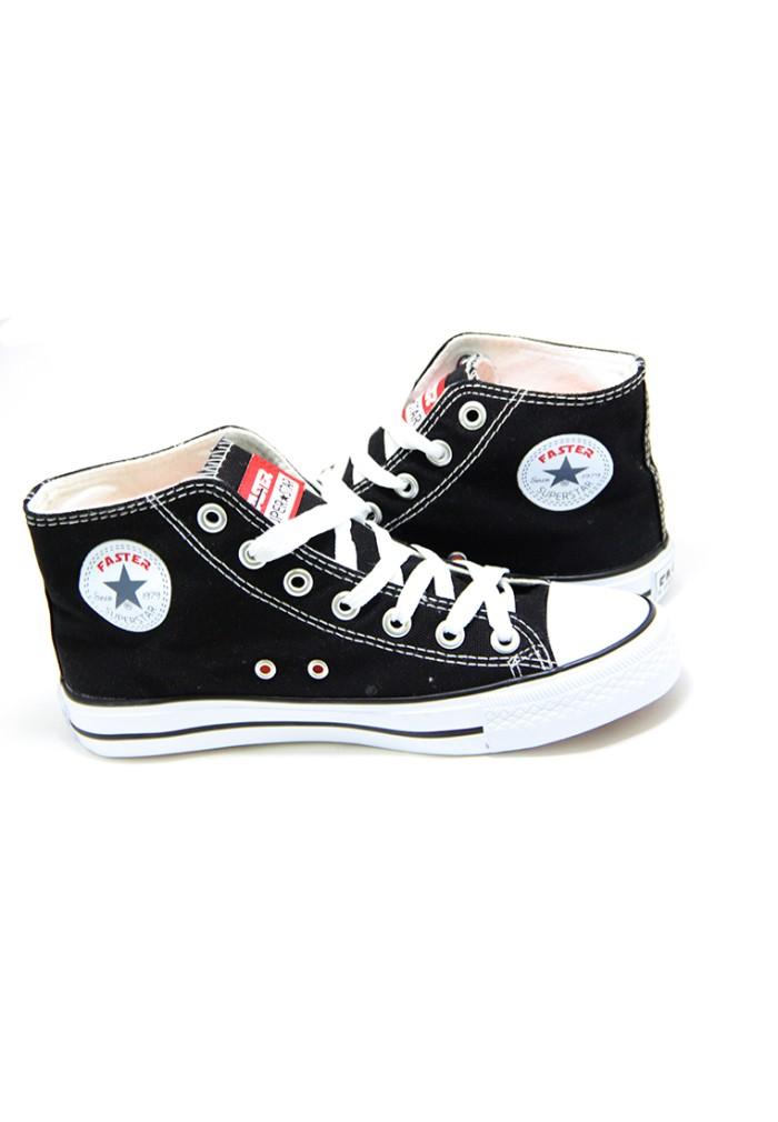 Faster Sepatu Sneakers Kanvas Wanita 1603-04 - Hitam/Putih - Hitam, 37