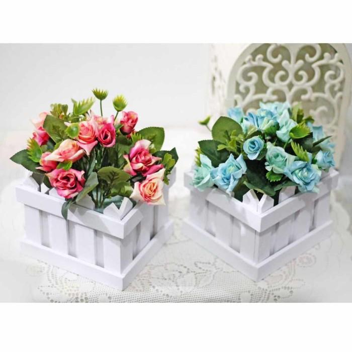 harga 1 set isi 2 bunga plastik hias artificial pot pagar kecil mawar rose 4 Tokopedia.com