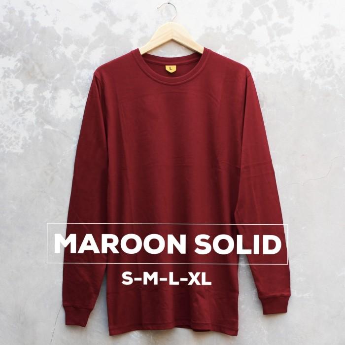 harga Baju kaos polos lengan panjang maroon solid merah marun cewek cowok Tokopedia.com