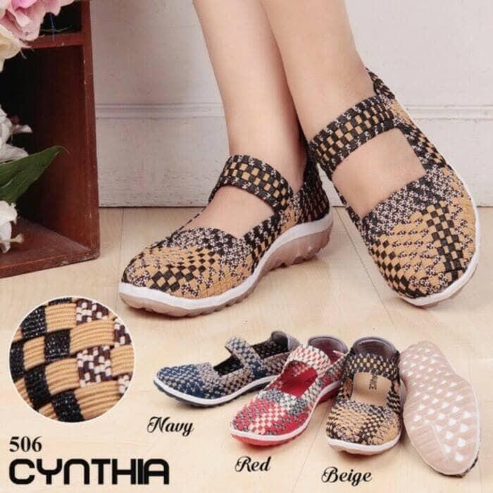Sepatu rajut / sepatu anyam flat cynthia 506 ...