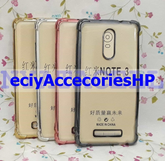 Soft Case Anticrack List Chrome Xiaomi Redmi Note 3,Pro Casing Cover