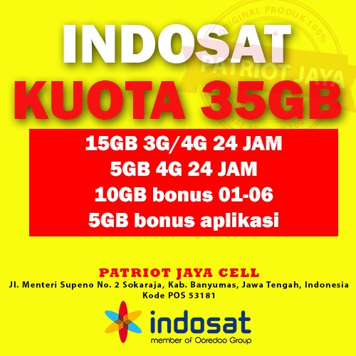 Perdana Internet Indosat Ooredoo IM3 35 GB Murah