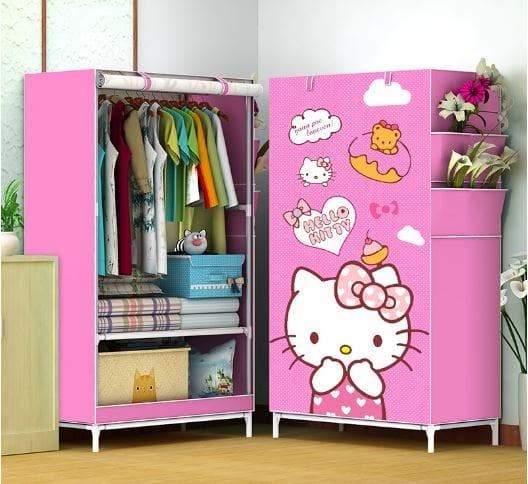 harga Lemari pakaian single rak baju portable / lemari hello kitty Tokopedia.com