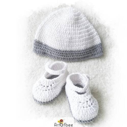 sepatu rajut bayi 11 - set sepatu dan topi crochet (PO) - 0-3 Bulan