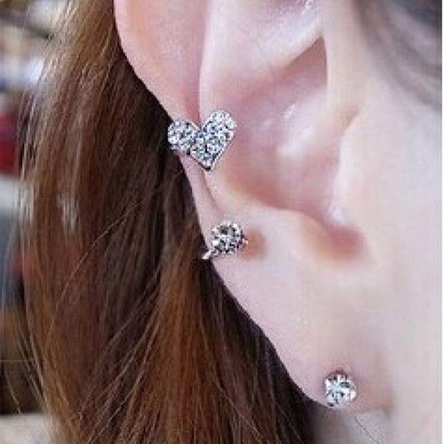 Ear clip heart diamond + anting   aksesoris import murah