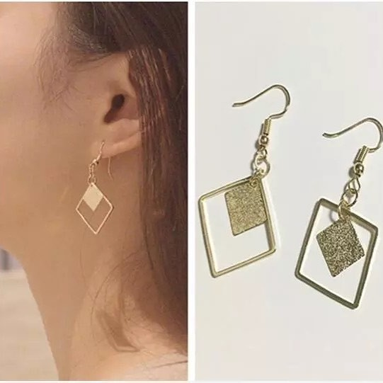 Anting double layer square gold | aksesoris import murah