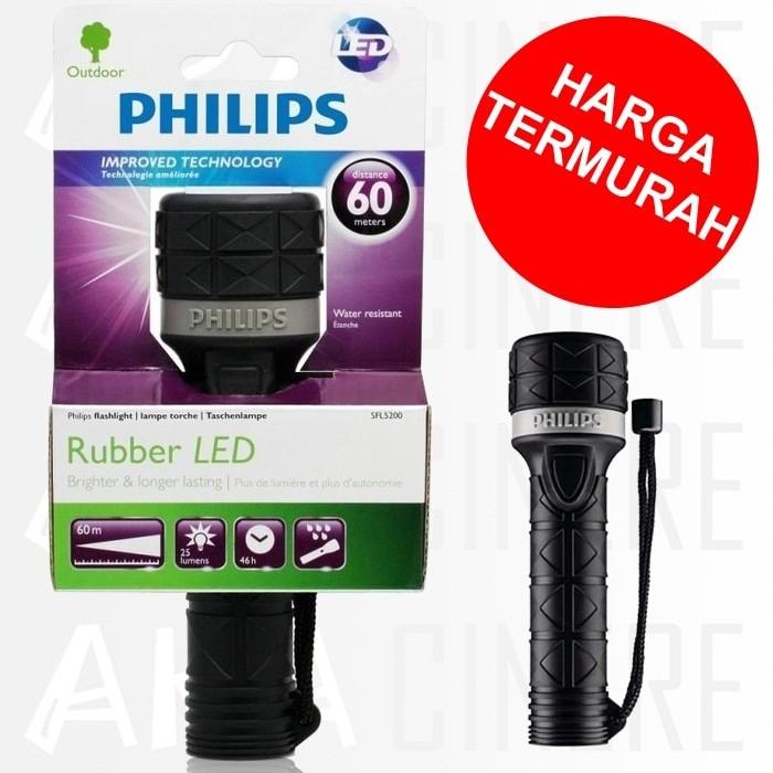 Senter led philips sfl5200 tahan air outdoor rubber flashlight