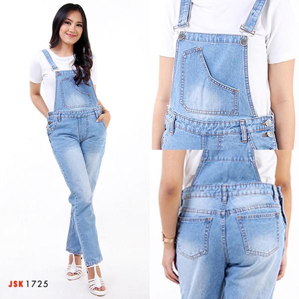 Jual Celana Kodok Panjang Overall Jeans Wanita Jumpsuit Denim Jsk
