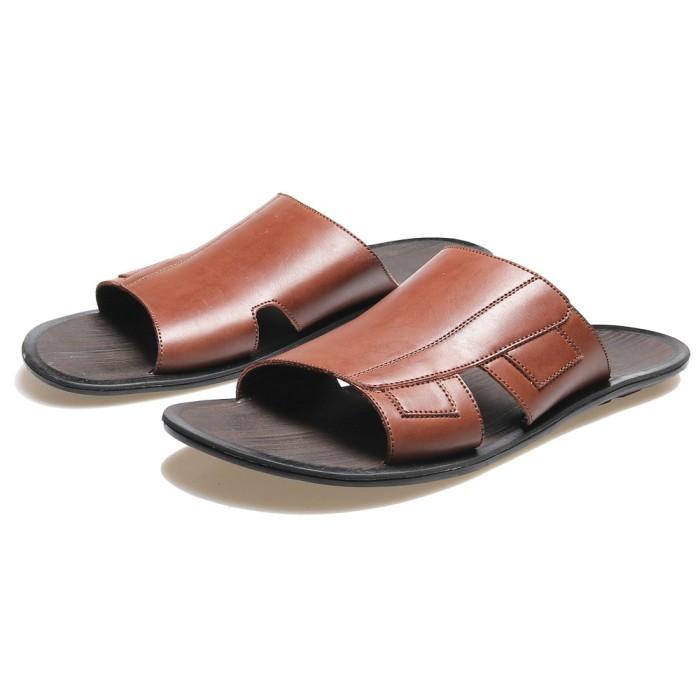harga Sandal kulit - sandal pria casual formal / sandal slop laki-laki bsm Tokopedia.com