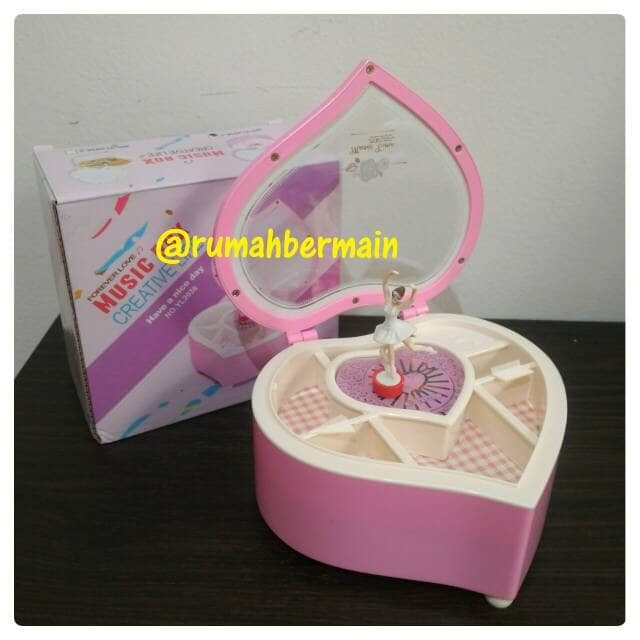 Kotak Musik Bentuk Love Pink Ballerina Music Box Kotak Perhiasan Kado